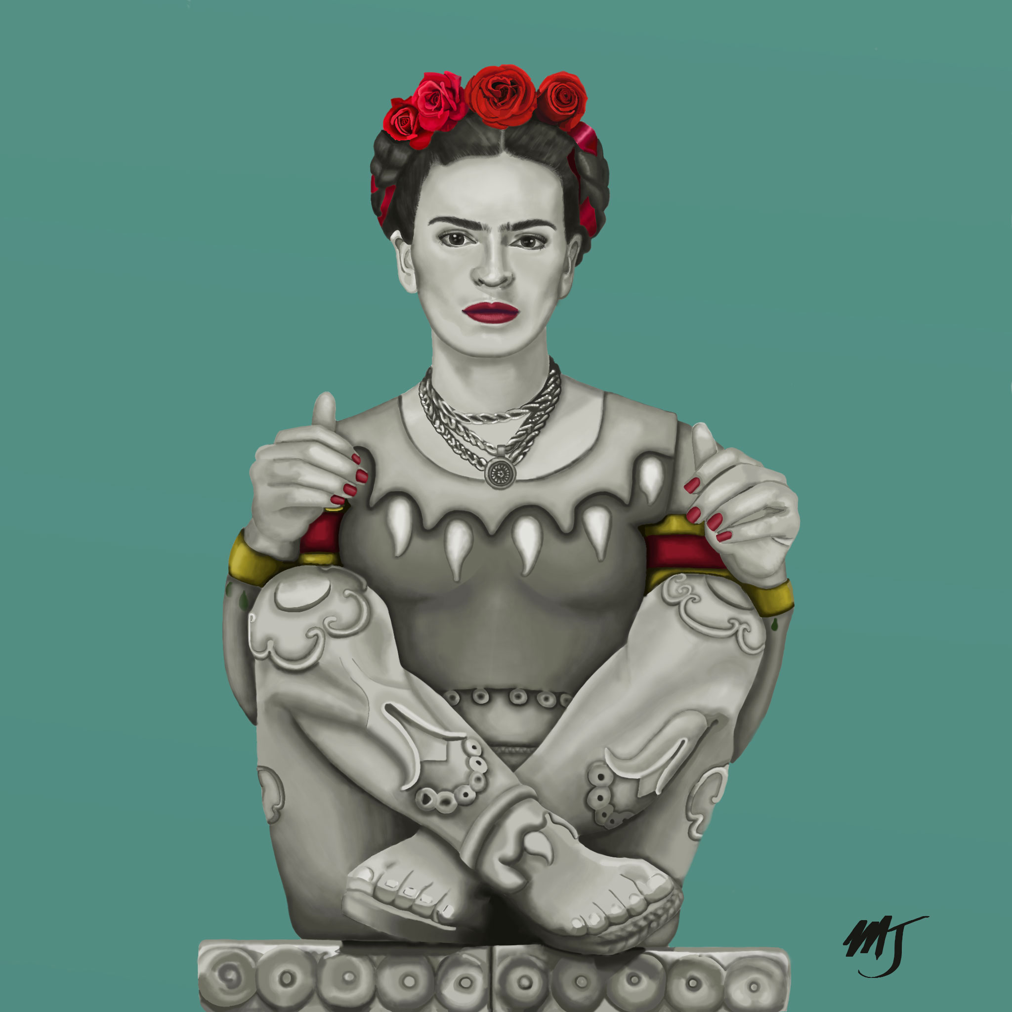 Frida's Flowers, digital art, 2017